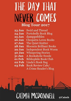 The Day that Never Comes blog tour poster