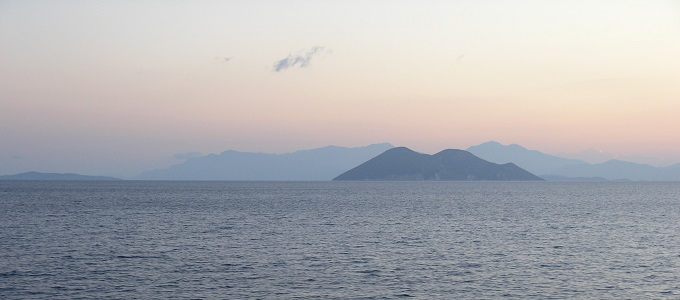 Looking northeast from Ithaki at dawn