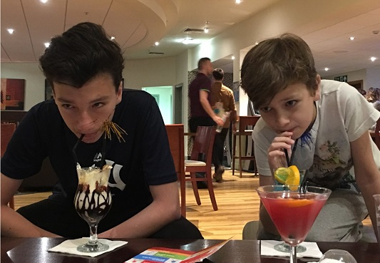 Kids in bar drinking Mocktails